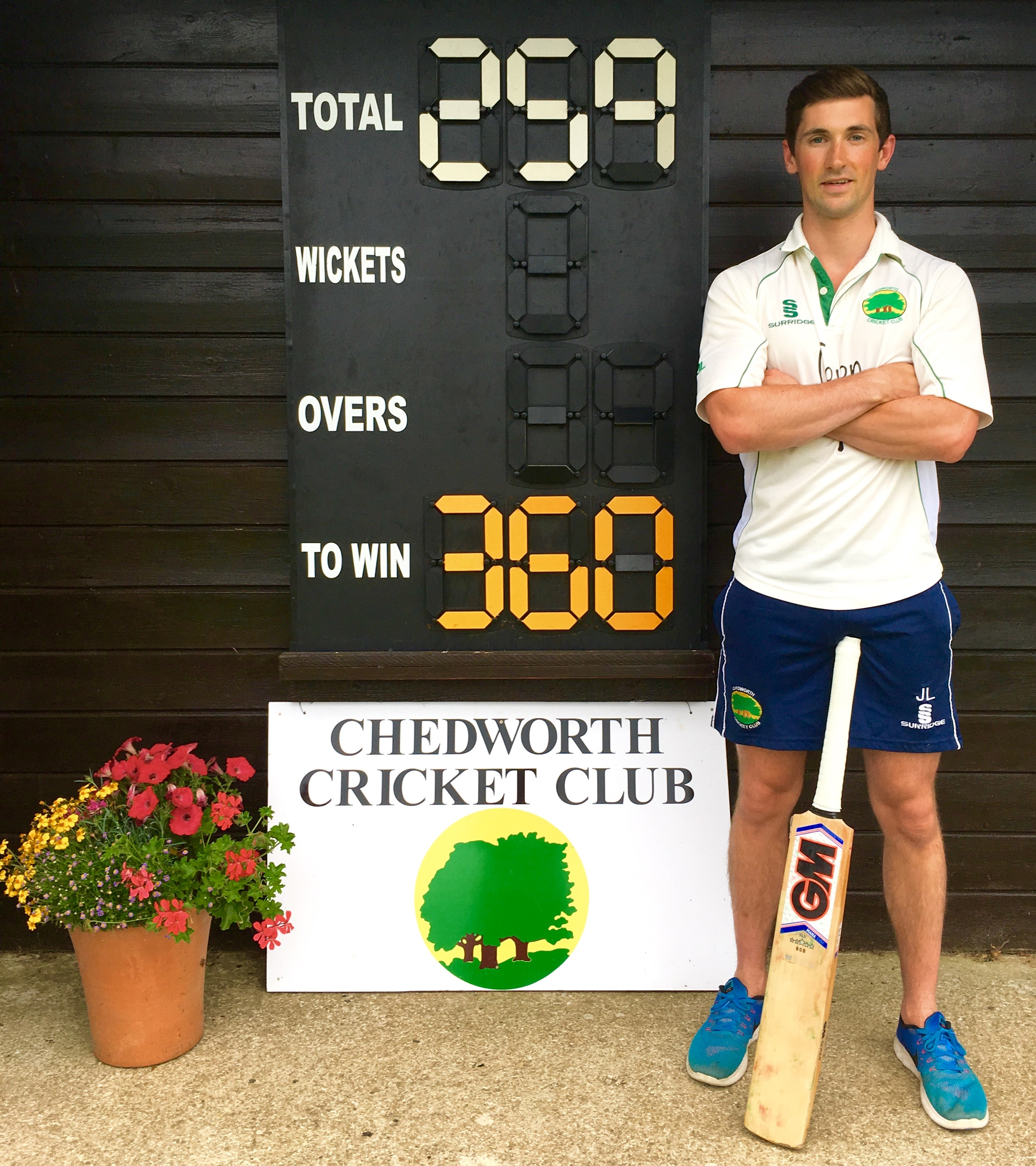 Jamie smashes 17 sixes in his record 259 not out for Chedworth
