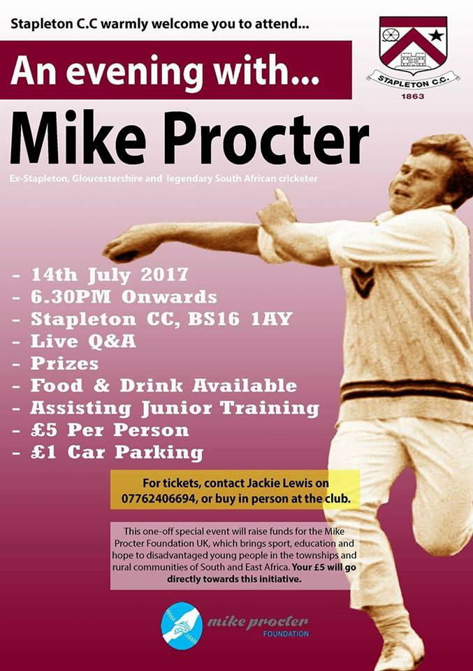 Gloucestershire legend Mike Procter set to make return visit to old club Stapleton